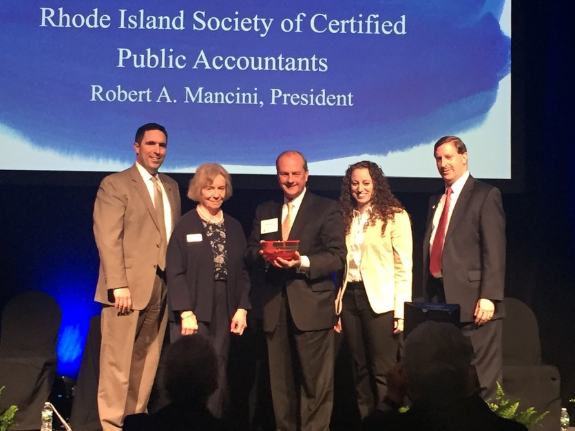 President Bob Mancini President Bob Mancini Accepts Award for RISCPA by RI Foundation Award